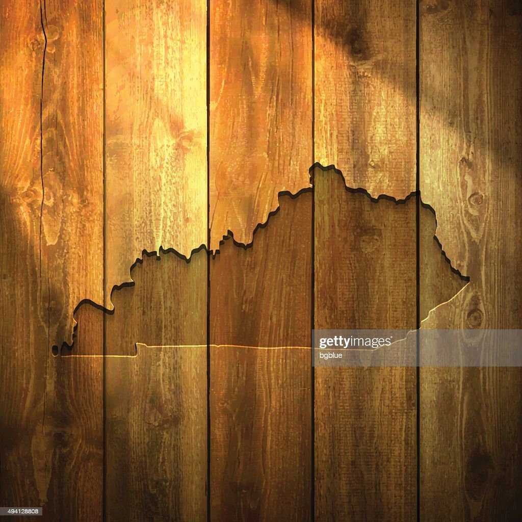 Kentucky Map on lit Wooden Background