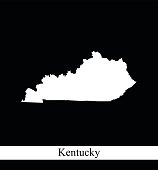 Kentucky map outline vector printable in black and white background