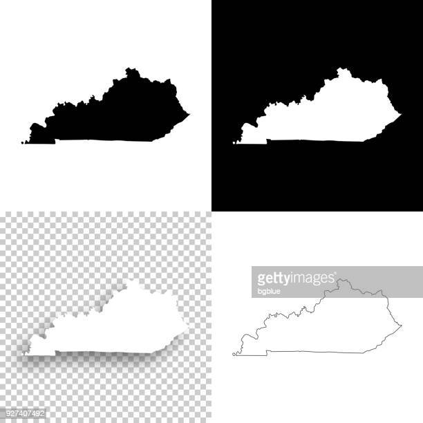 kentucky maps for design - blank, white and black backgrounds - kentucky stock illustrations