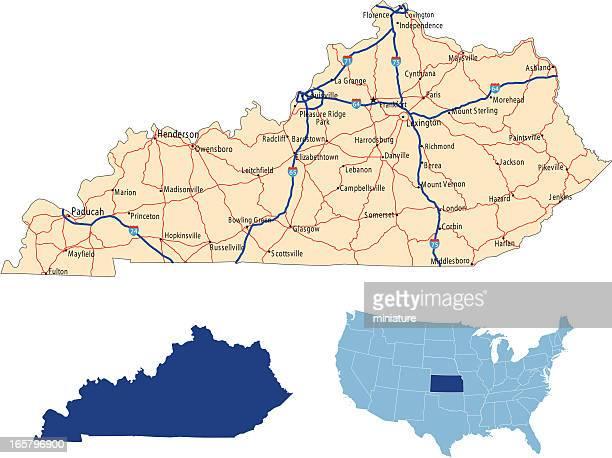 ケンタッキーロードマップ - ケンタッキー州点のイラスト素材/クリップアート素材/マンガ素材/アイコン素材