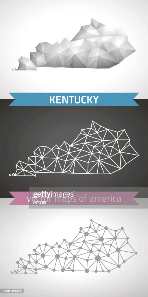 Kentucky set of grey and silver mosaic 3d polygonal maps. Graphic vector triangle geometry outline shadow perspective maps