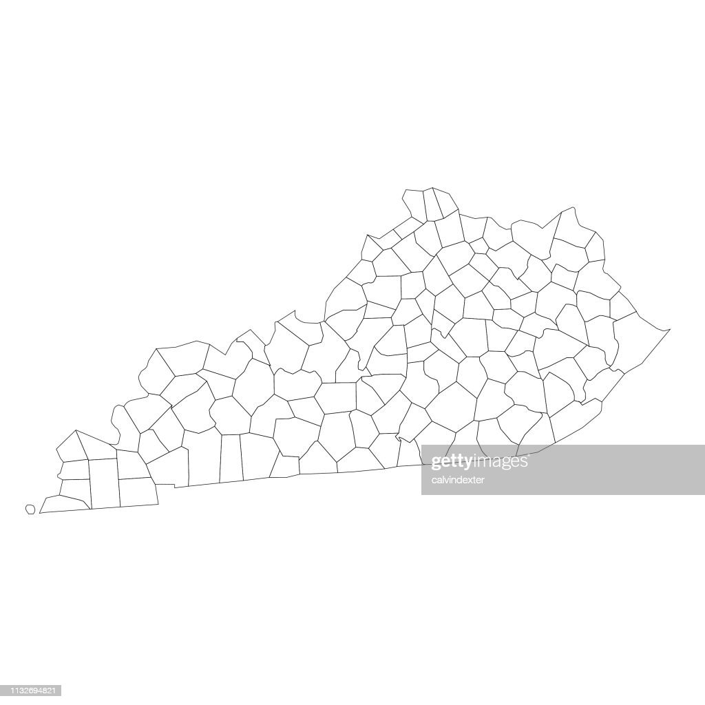 Kentucky State Map With Counties High-Res Vector Graphic ...