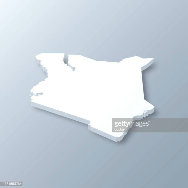 illustrazioni stock, clip art, cartoni animati e icone di tendenza di kenya 3d map on gray background - kenya