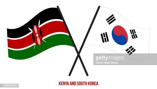 kenya south korea flags crossed waving