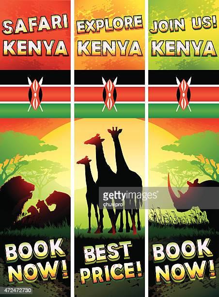 illustrations, cliparts, dessins animés et icônes de kenya ensemble de bannières avec des lions, des girafes, rhinocéros - afrique paysage