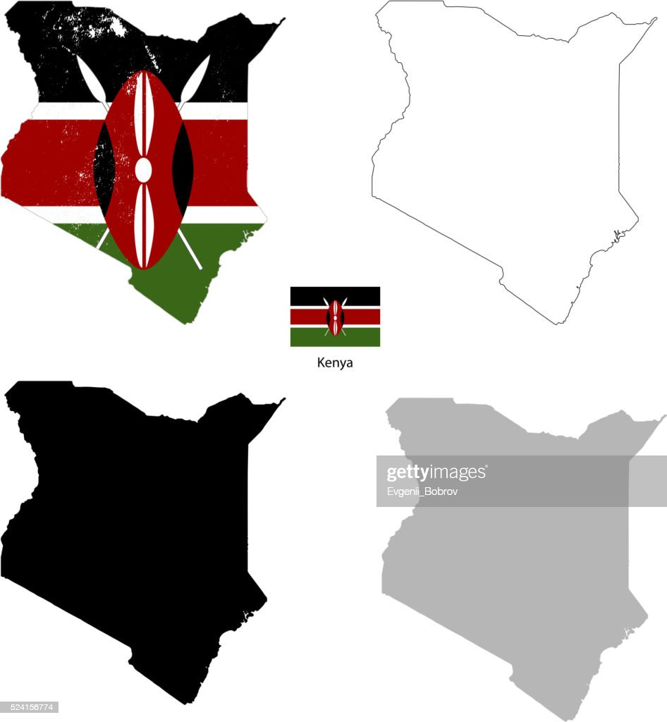 Kenya country black silhouette and with flag on background