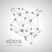 Kenya dot vector silver map