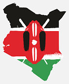 Kenya Flag & Map Vector Hand Painted with Rounded Brush