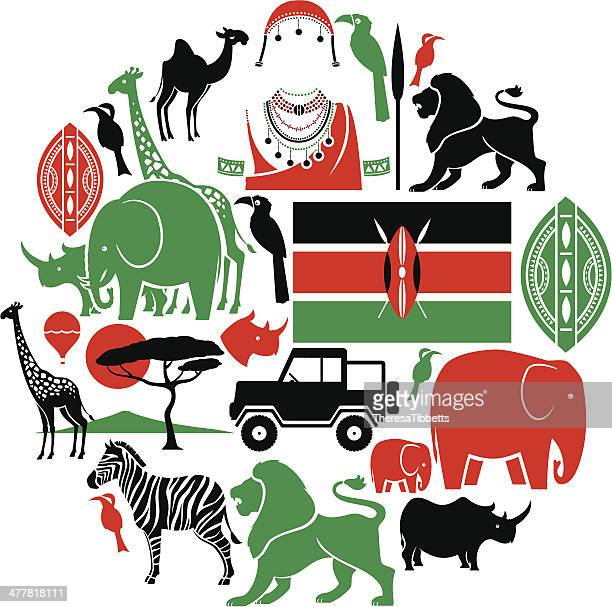 kenya icon set - safari stock illustrations, clip art, cartoons, & icons