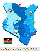 Kenya - map and flag - Detailed Vector Illustration