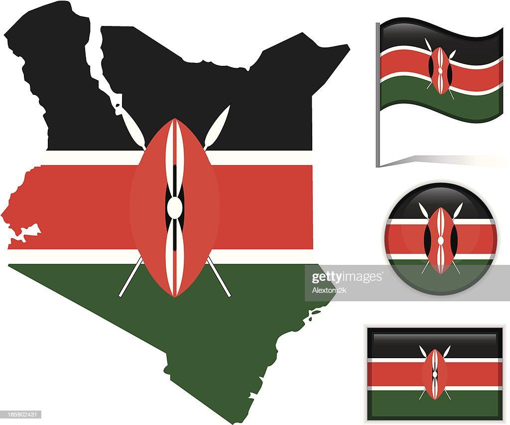 Kenya map & flag