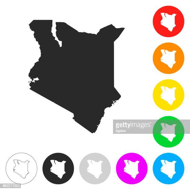 illustrazioni stock, clip art, cartoni animati e icone di tendenza di kenya map - flat icons on different color buttons - kenya