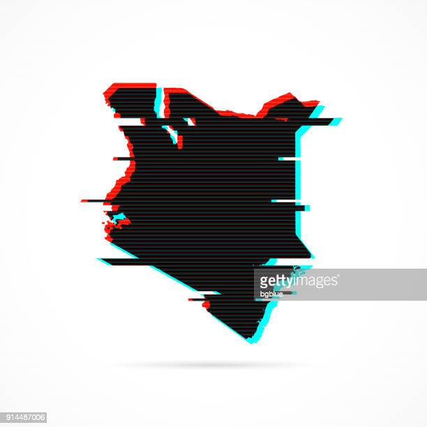Kenya map in distorted glitch style. Modern trendy effect
