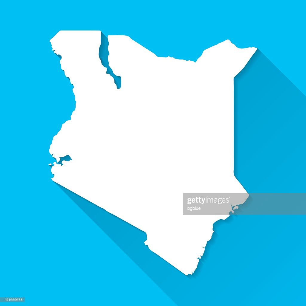 Kenya Map on Blue Background, Long Shadow, Flat Design