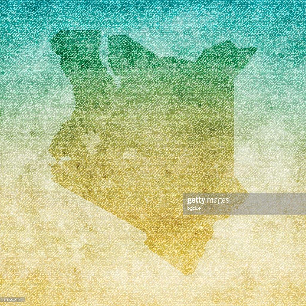 Kenya Map on grunge Canvas Background