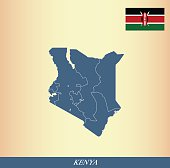 Kenya map outline vector and Kenya flag vector outline