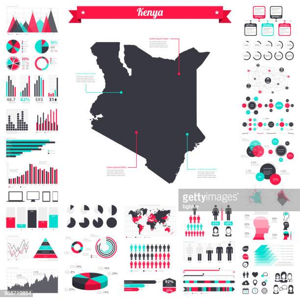 illustrazioni stock, clip art, cartoni animati e icone di tendenza di kenya map with infographic elements - big creative graphic set - kenya