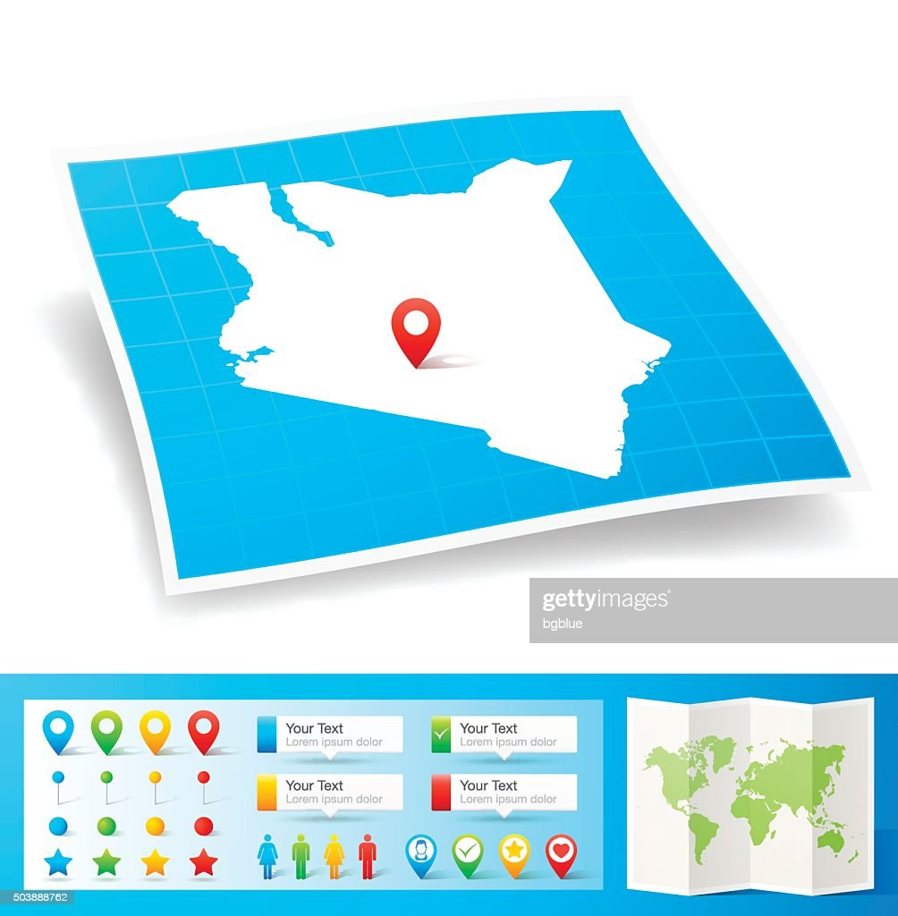 Kenya Map with location pins isolated on white Background