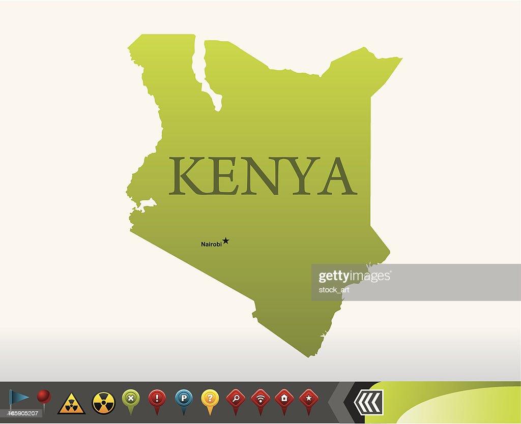 Kenya map with navigation icons