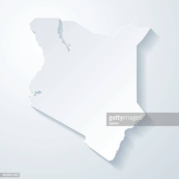 illustrazioni stock, clip art, cartoni animati e icone di tendenza di kenya map with paper cut effect on blank background - kenya