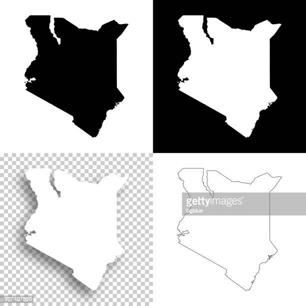 illustrazioni stock, clip art, cartoni animati e icone di tendenza di kenya maps for design - blank, white and black backgrounds - kenya