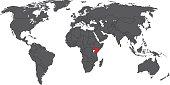 Kenya red on gray world map vector