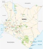 kenya road and national park map