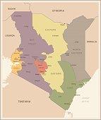 Kenya - vintage map and flag - Detailed Vector Illustration