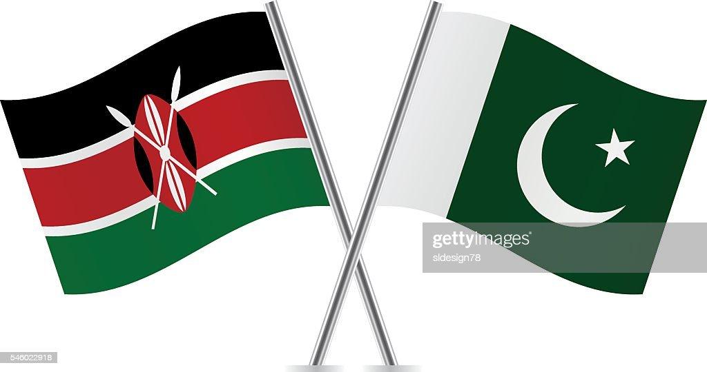 Kenyan and Pakistani flags. Vector.