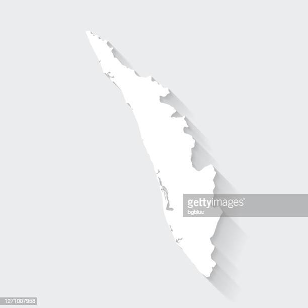 kerala map with long shadow on blank background - flat design - kerala stock illustrations