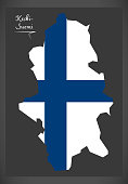 Keski-Suomi map of Finland with Finnish national flag illustration