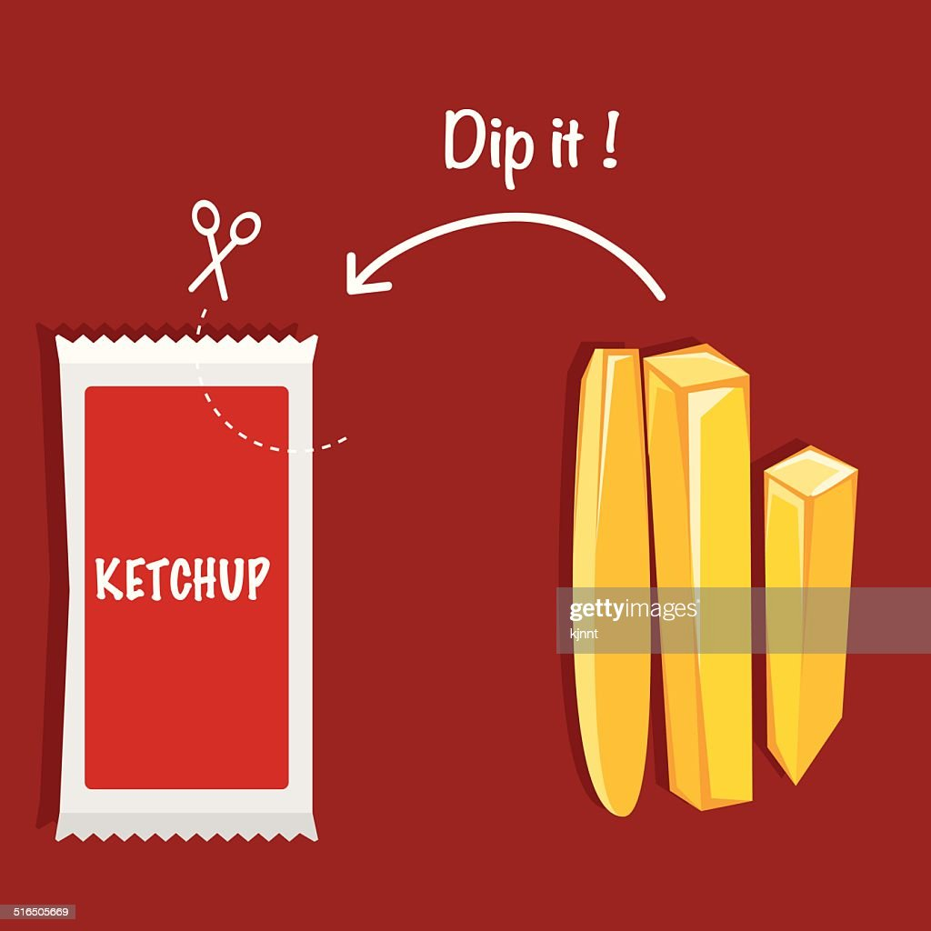 Ketchup and French fries VECTOR ILLUSTRATION