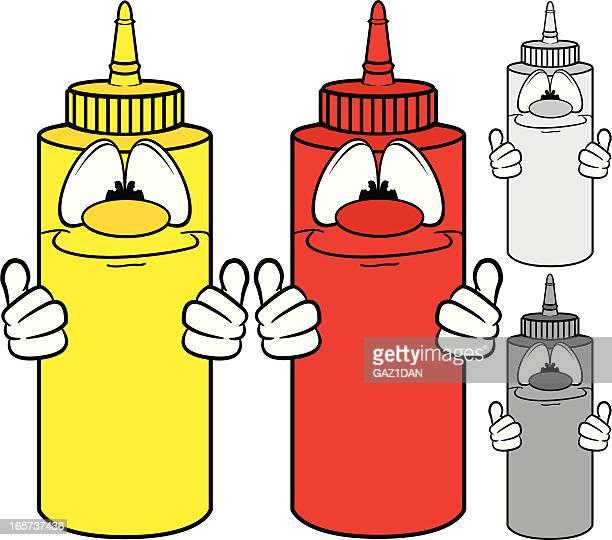ketchup and mustard bottle characters - ketchup stock illustrations, clip art, cartoons, & icons