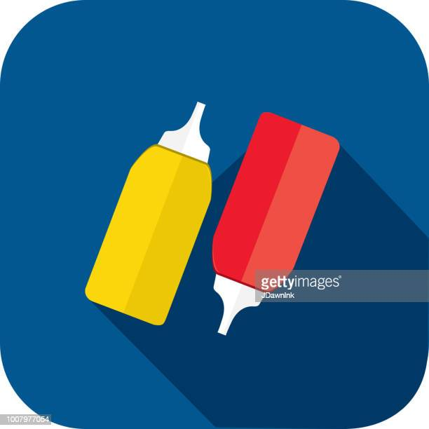 ketchup and mustard bottles flat design bbq or barbecue  themed icon with shadow - ketchup stock illustrations, clip art, cartoons, & icons
