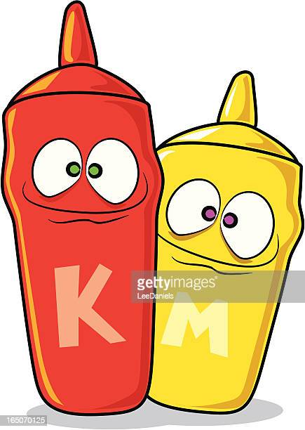 ketchup and mustard cartoons - ketchup stock illustrations, clip art, cartoons, & icons