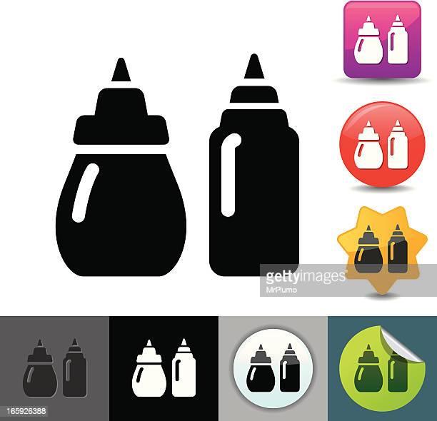 ketchup and mustard icon   solicosi series - ketchup stock illustrations, clip art, cartoons, & icons