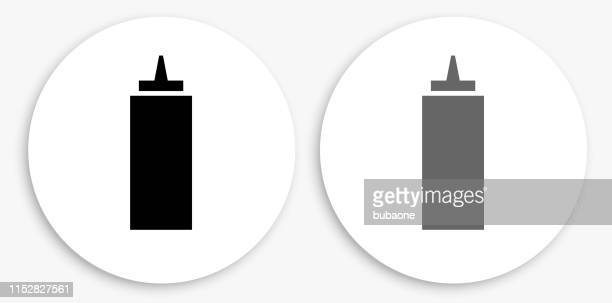 ketchup black and white round icon - ketchup stock illustrations, clip art, cartoons, & icons