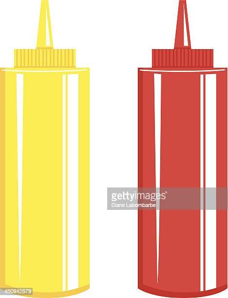 ketchup & mustard bottle - ketchup stock illustrations, clip art, cartoons, & icons