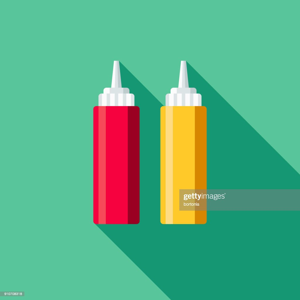 Ketchup Mustard Flat Design Bbq Icon With Side Shadow Vector Art ...