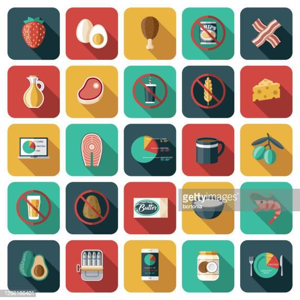 keto diet icon set - coconut oil stock illustrations