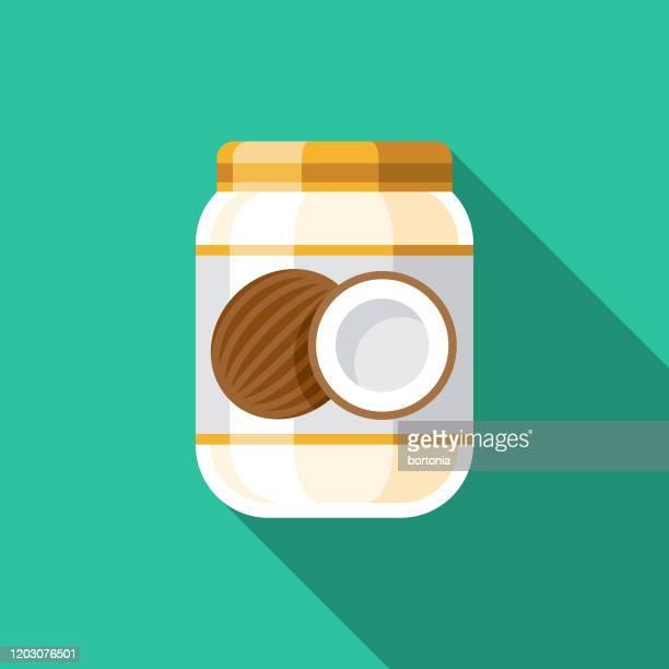 ketogenic diet coconut oil icon - coconut oil stock illustrations