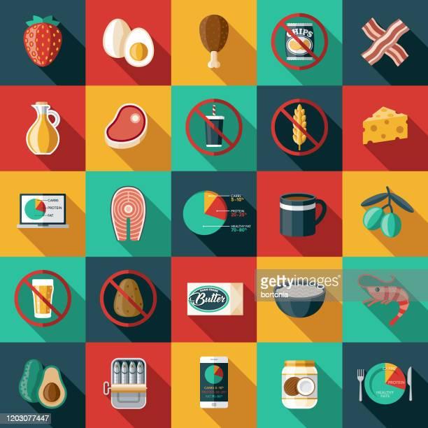 ketogene diät icon set - langer schlagschatten design stock-grafiken, -clipart, -cartoons und -symbole
