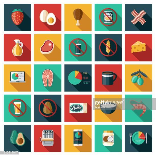 ketogenic diet icon set - fasting activity stock illustrations
