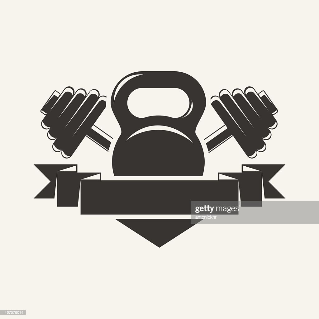 kettlebell and dumbbell with baner logo