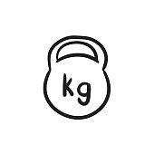 Kettlebell sketch icon