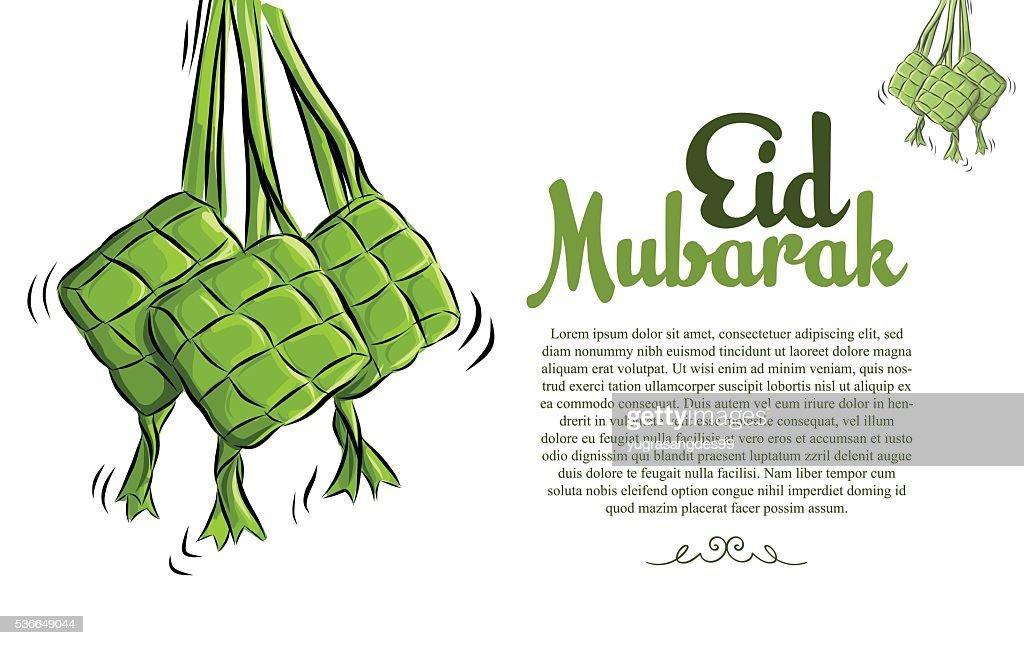 Ketupat Illustration for Eid Mubarak. Vector Sketch Illustration.