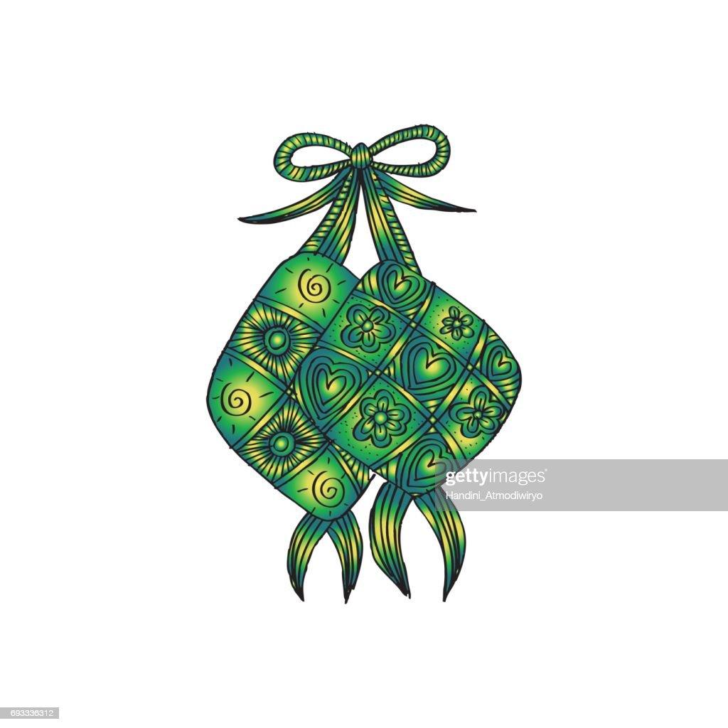 Ketupat  Indonesian fraditional Food. decorative style