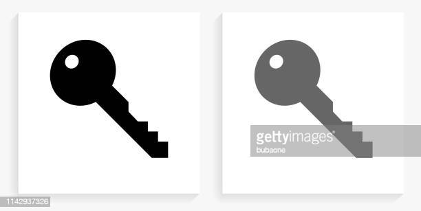 key black and white square icon - key stock illustrations