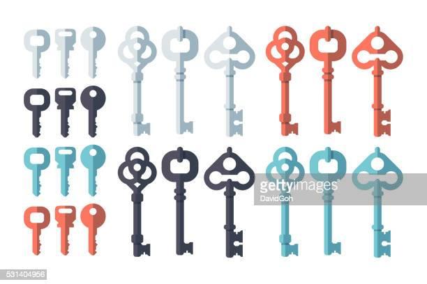 key flat design set - key stock illustrations