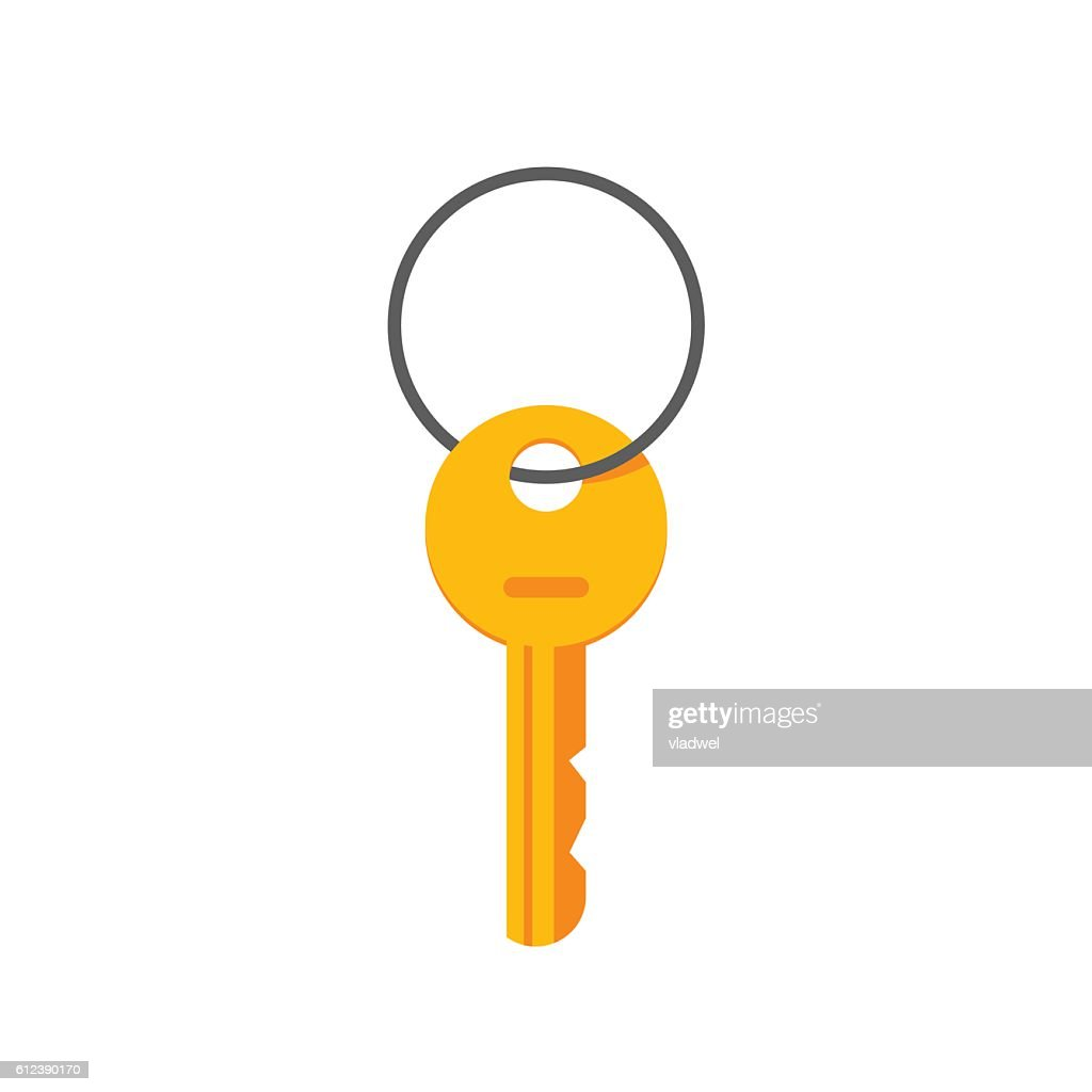 Key hanging on ring vector illustration isolated
